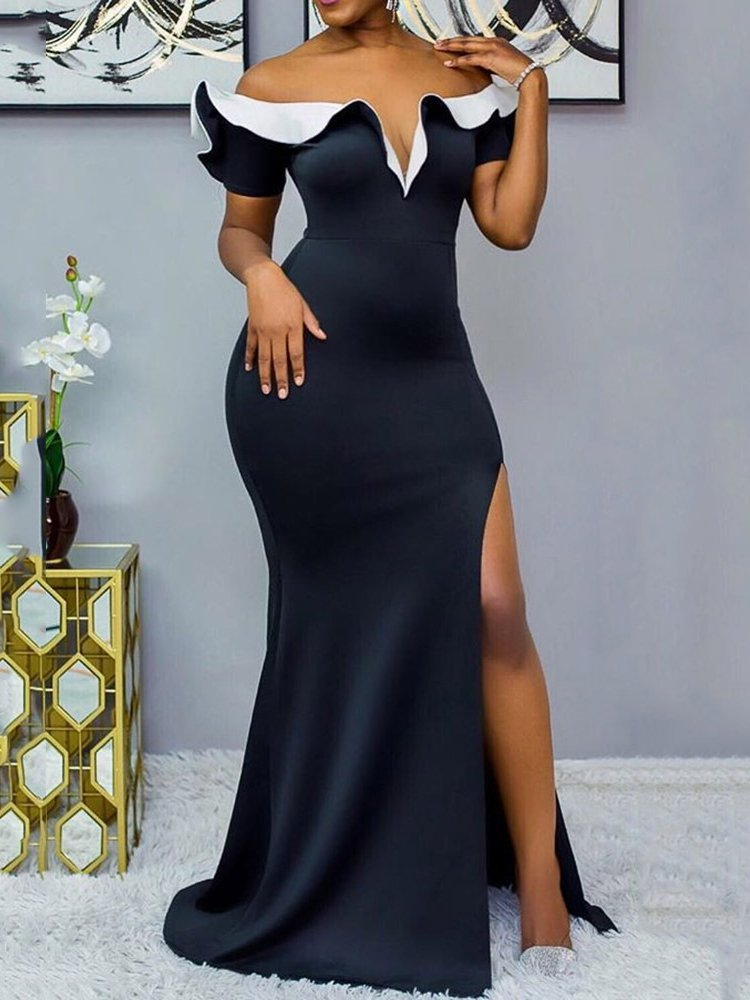 Black Plus Size Evening Gowns Sexy Cold Shoulder Ruffled Slit Maxi Dresses Rikkishop