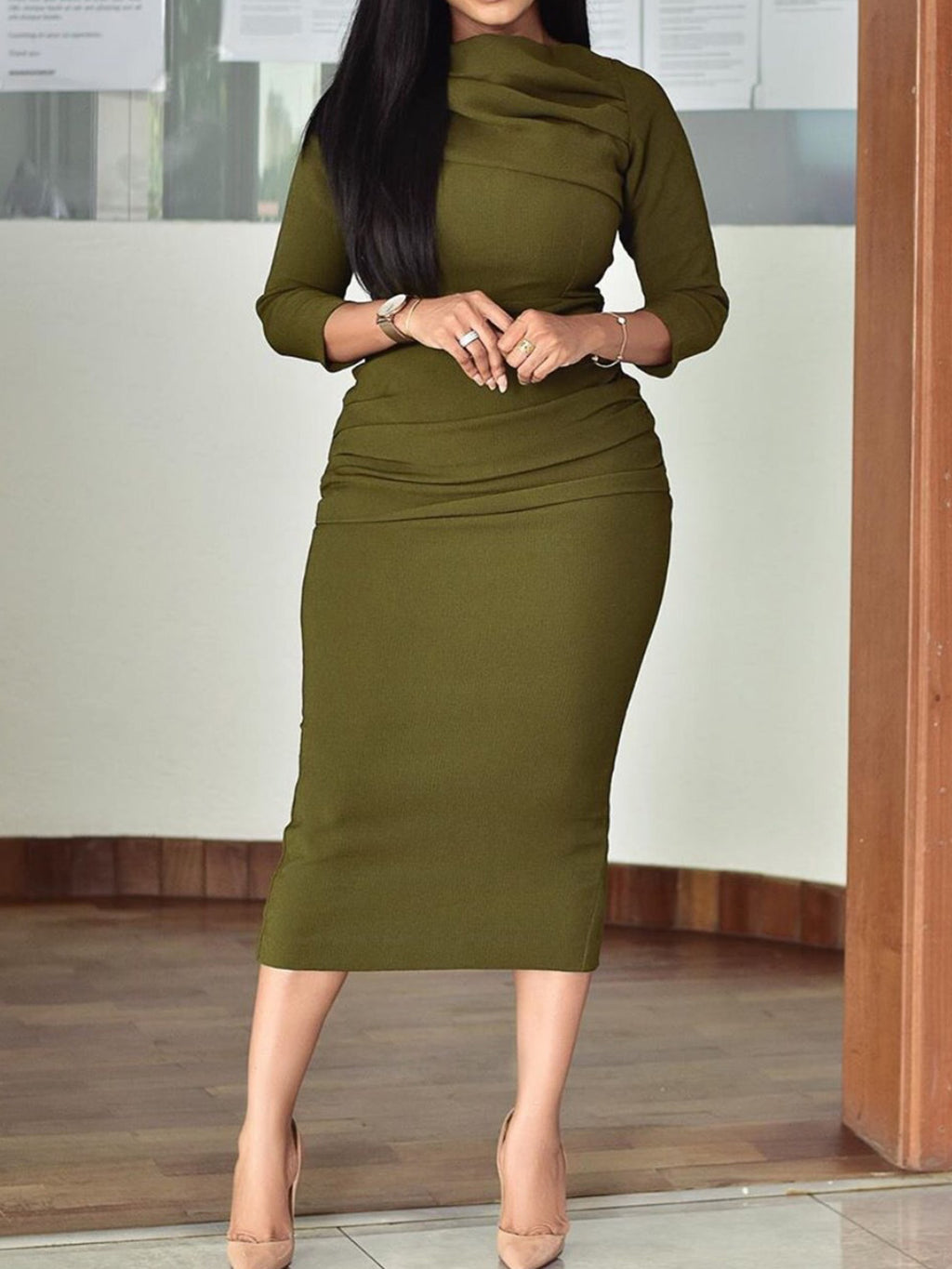 Plus Size Green 3/4 Sleeve Casual Daily Bodycon Dresses Rikkishop
