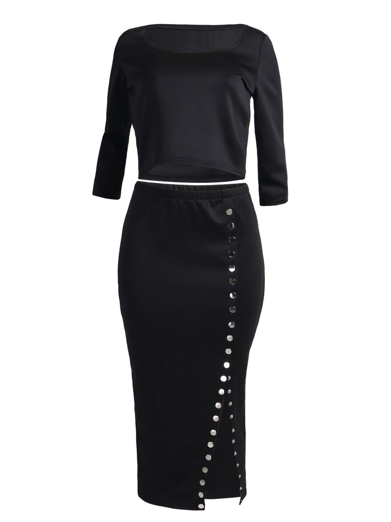 Solid Color 3/4 Sleeve Slit Rivet Top And Skirt Suit