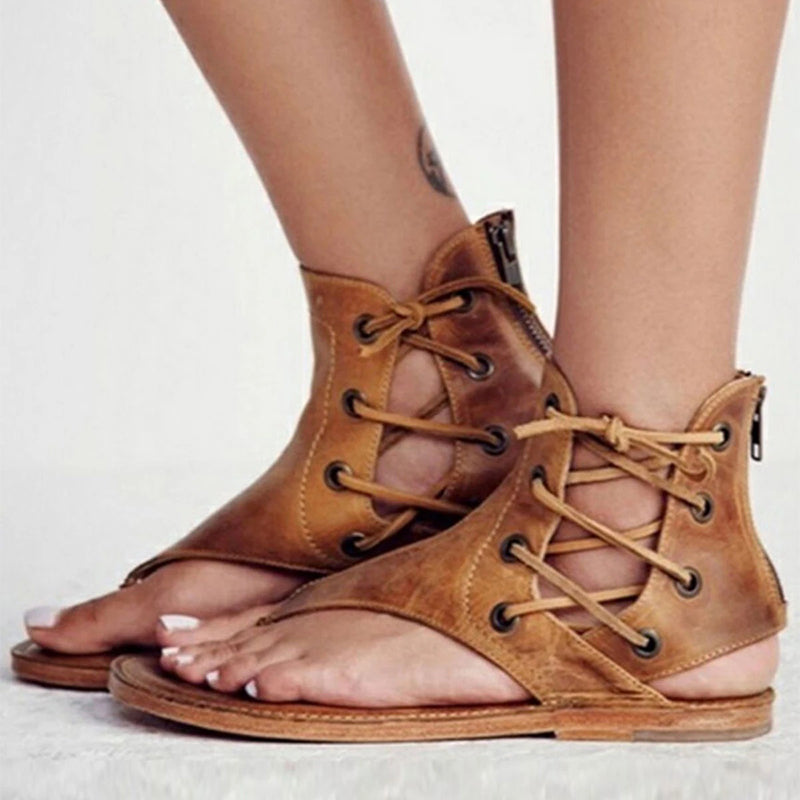 Solid Color Thong Lace-Up Flat Sandals Rikkishop