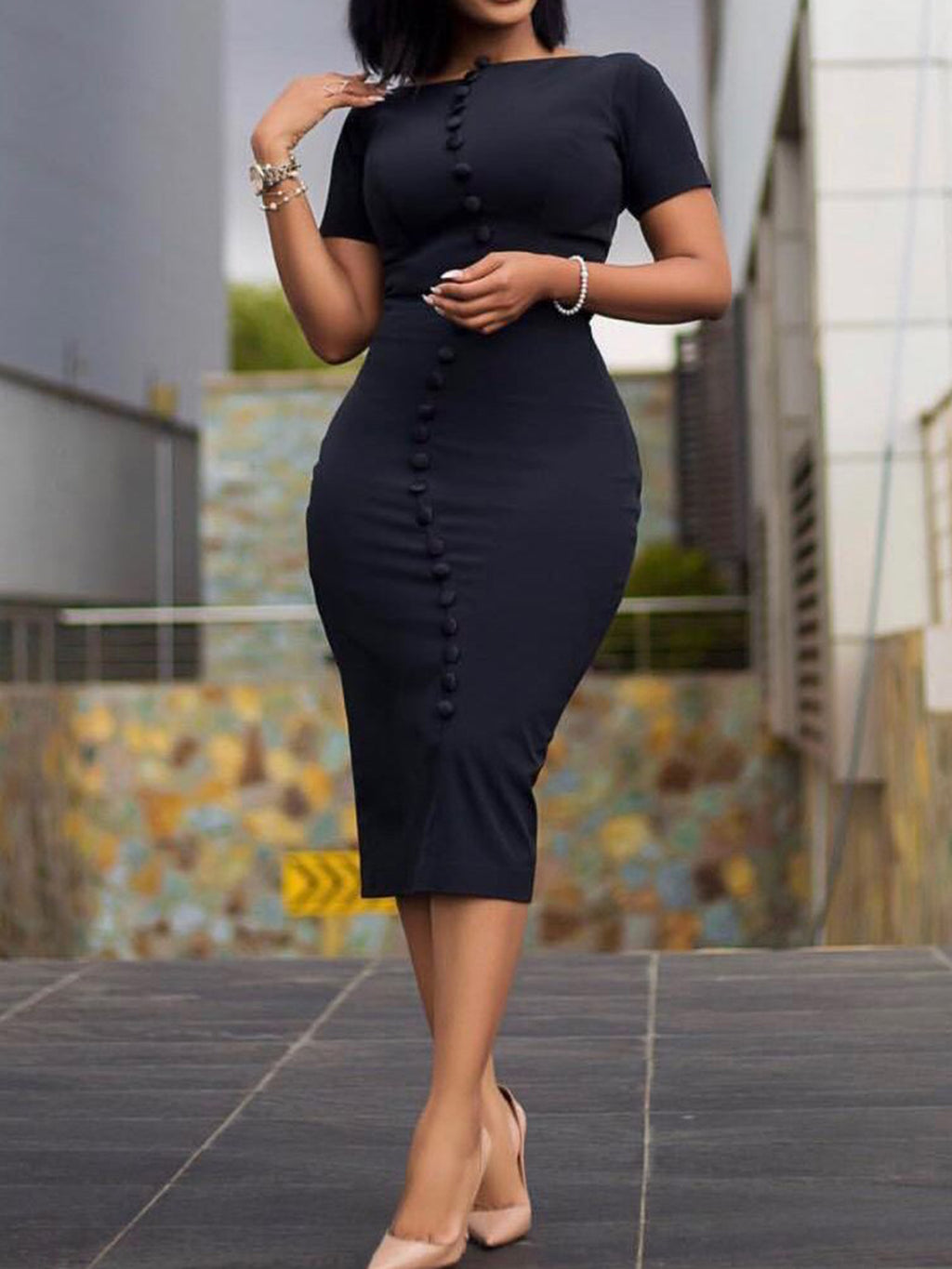 Plus Size Black Crew Neck Short Sleeve Buttoned Sexy Bodycon Dresses Rikkishop