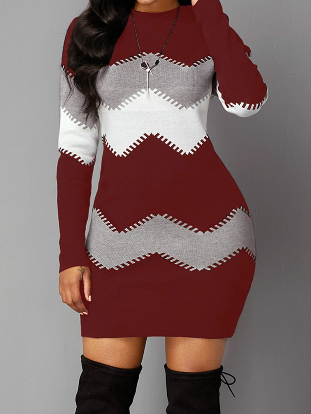 Long Sleeve Chevron Pattern Mock Neck Plus Size Sweater Bodycon Dress Rikkishop