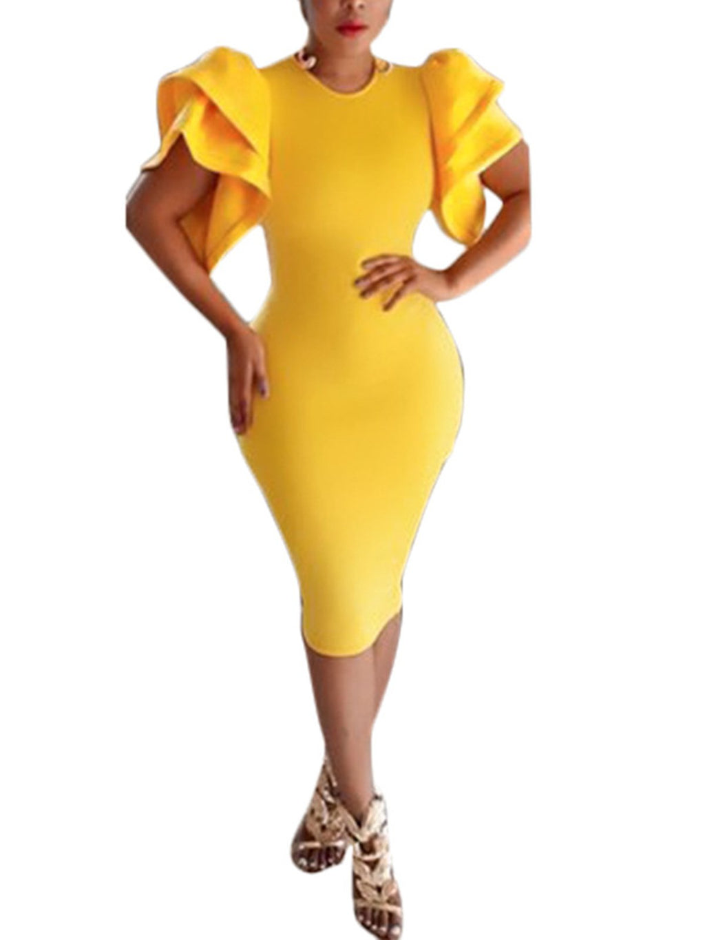 2019 Plus Size Holiday Yellow Plus Size Petal Sleeve Bodycon Dress Rikkishop