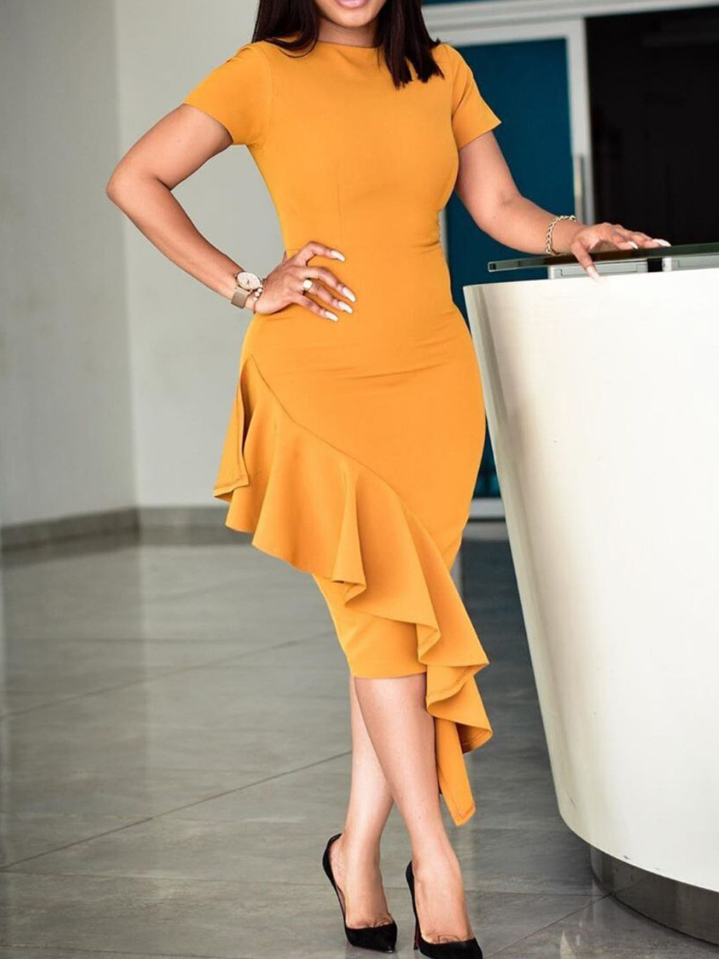 Plus Size Yellow Crew Neck Ruffled Cotton-Blend Sexy Peplum Bodycon Dresses Rikkishop