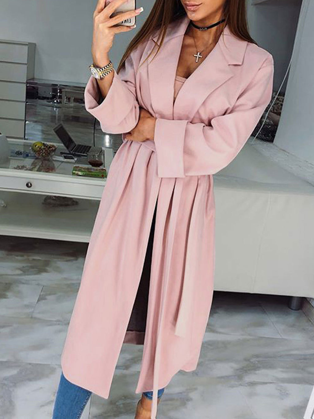 Casual Pink Solid Casual Polyester Trench Coat Rikkishop
