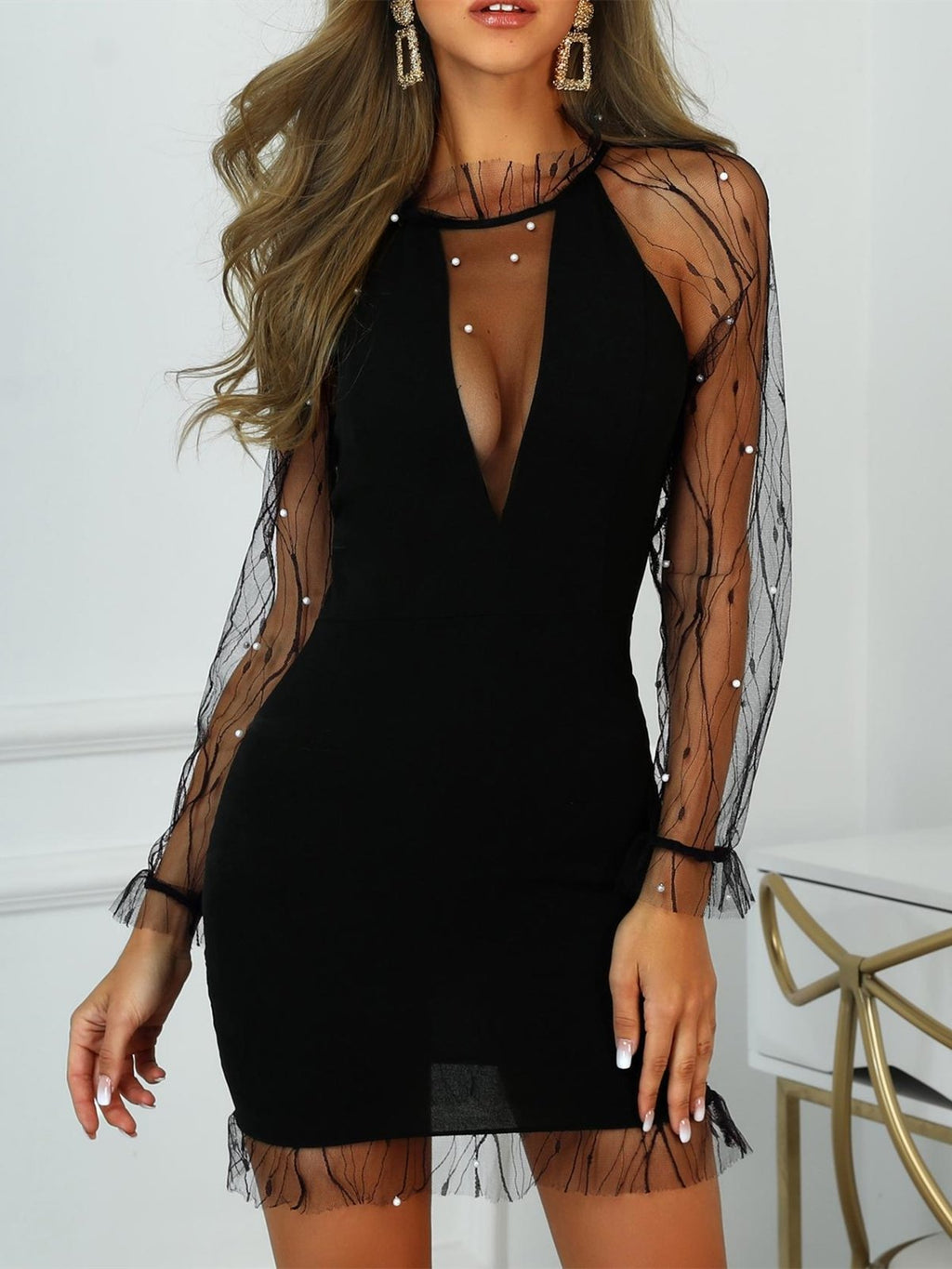 Mesh Overlay Long Sleeve Embroidered Plus Size Bodycon Dresses Rikkishop