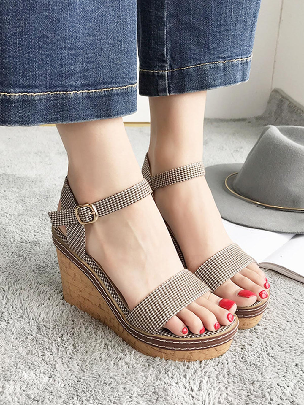 New Plaid High Heel Peep Toe with Buckled Wedge Sandals