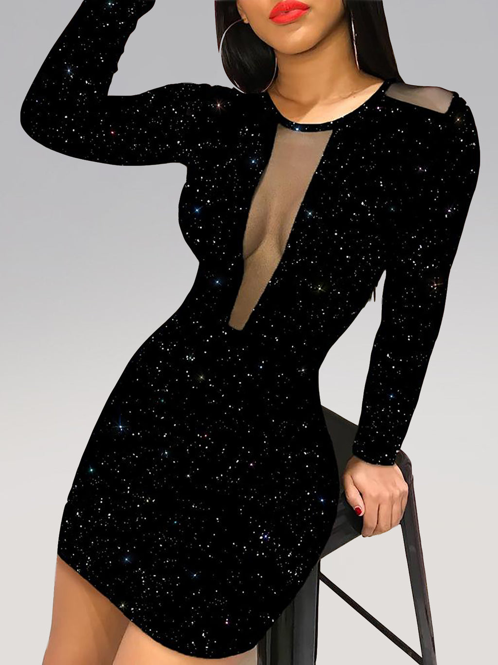 Black Sequins Mesh Overlay Long Sleeve Bodycon dresses Rikkishop