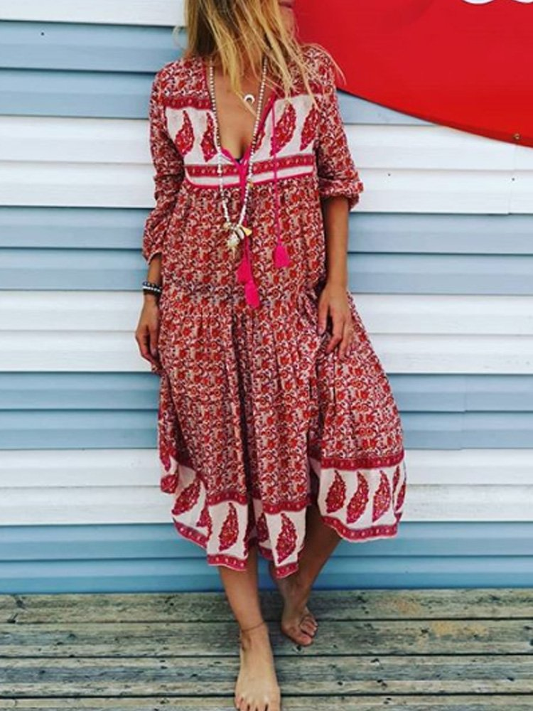 Red Patchwork Casual V Neck Dresses