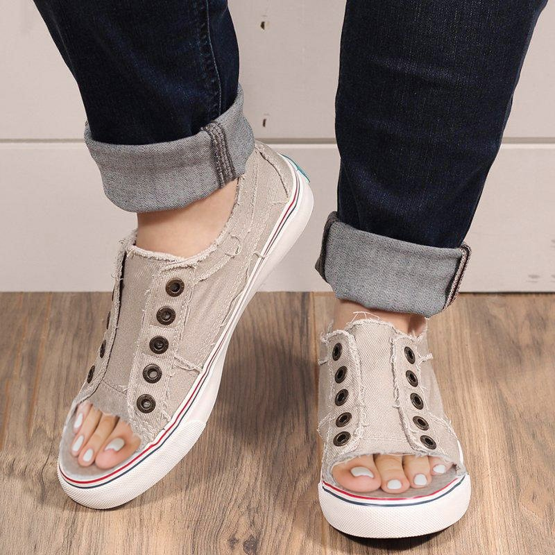 Sports Distressed  Canvas Summer Rivet Sneakers Rikkishop