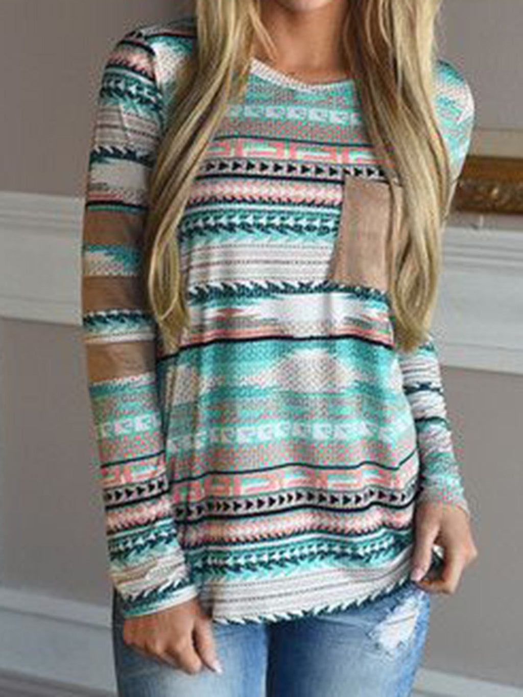 Multicolor Pockets Boho Cotton Geometric Shirts & Tops