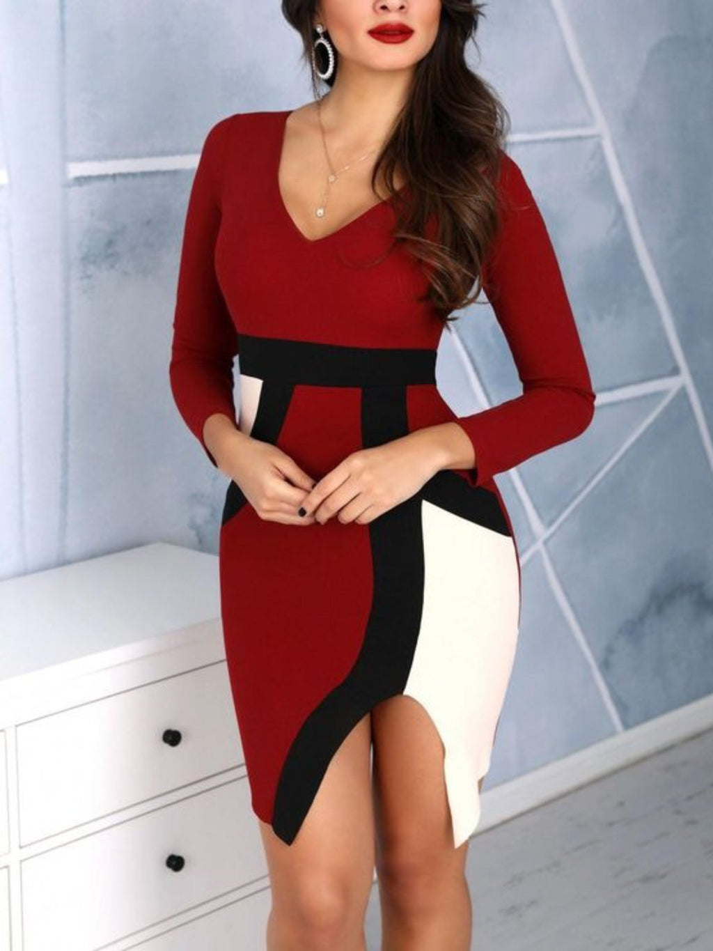 Red Elegant Long Sleeve V Neck Plus Size Work Pencil Bodycon Day Dress Rikkishop