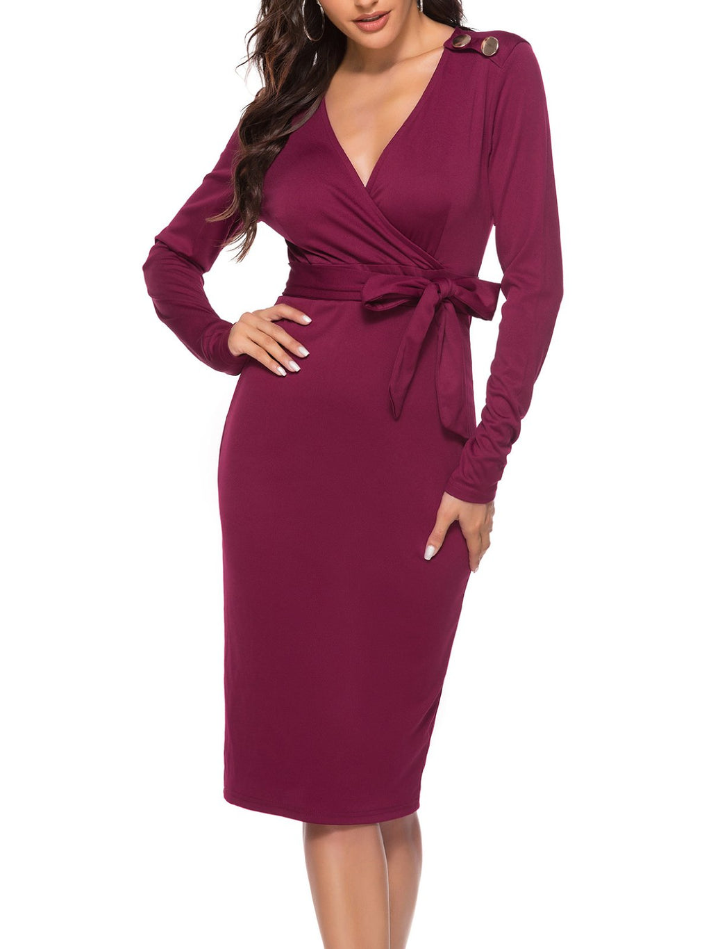 Bow Elegant Long Sleeve V Neck Plus Size Work Pencil Bodycon Day Dress Rikkishop