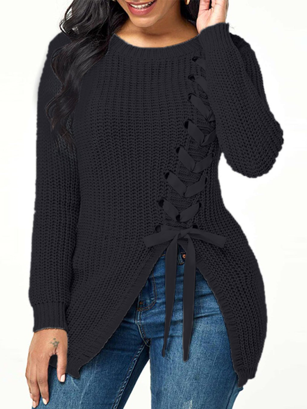 Solid Long Sleeve Round Neck Sweater