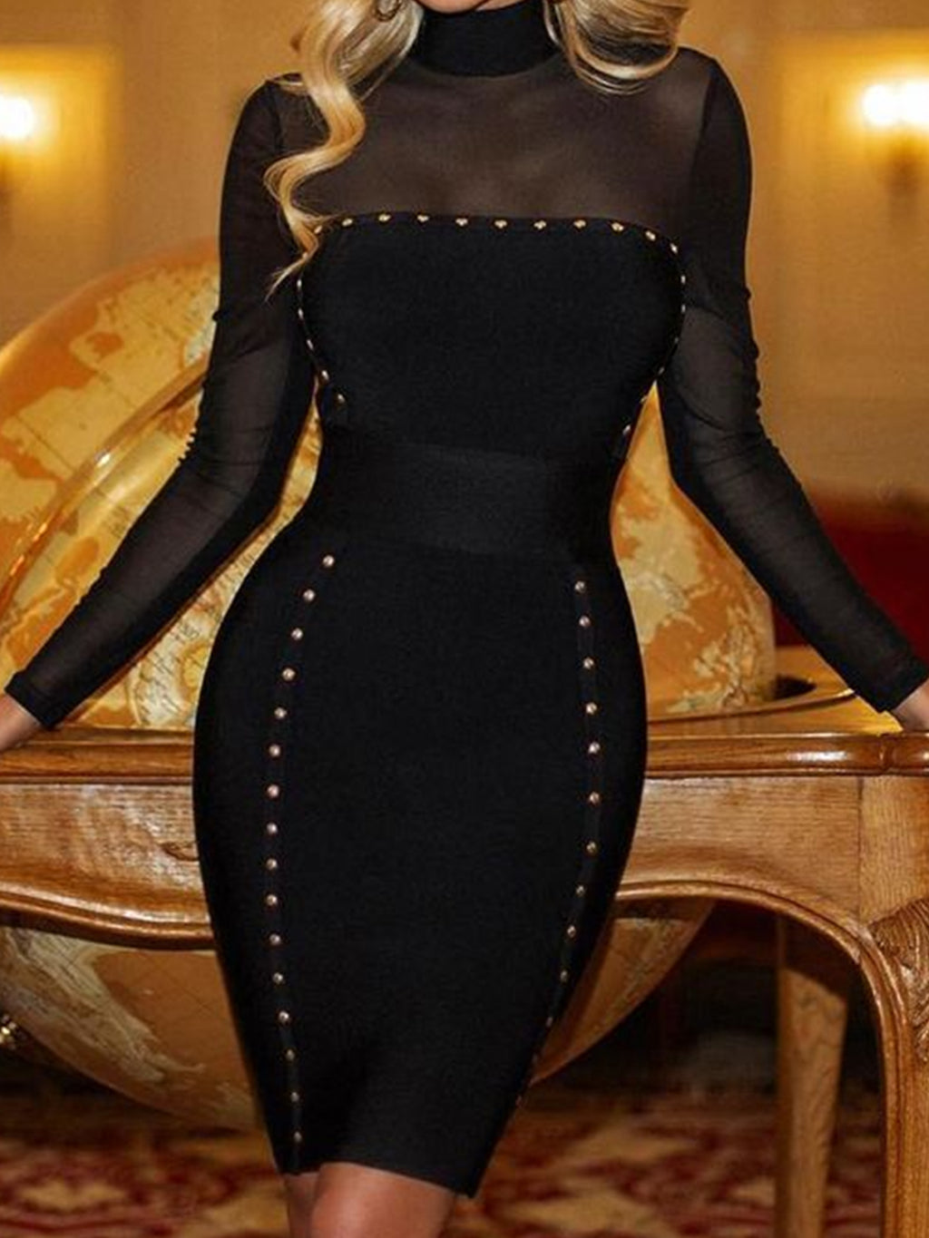 Black Sexy Plus Size Evening Gowns Mesh Overlay Long Sleeve Bodycon Dresses Rikkishop