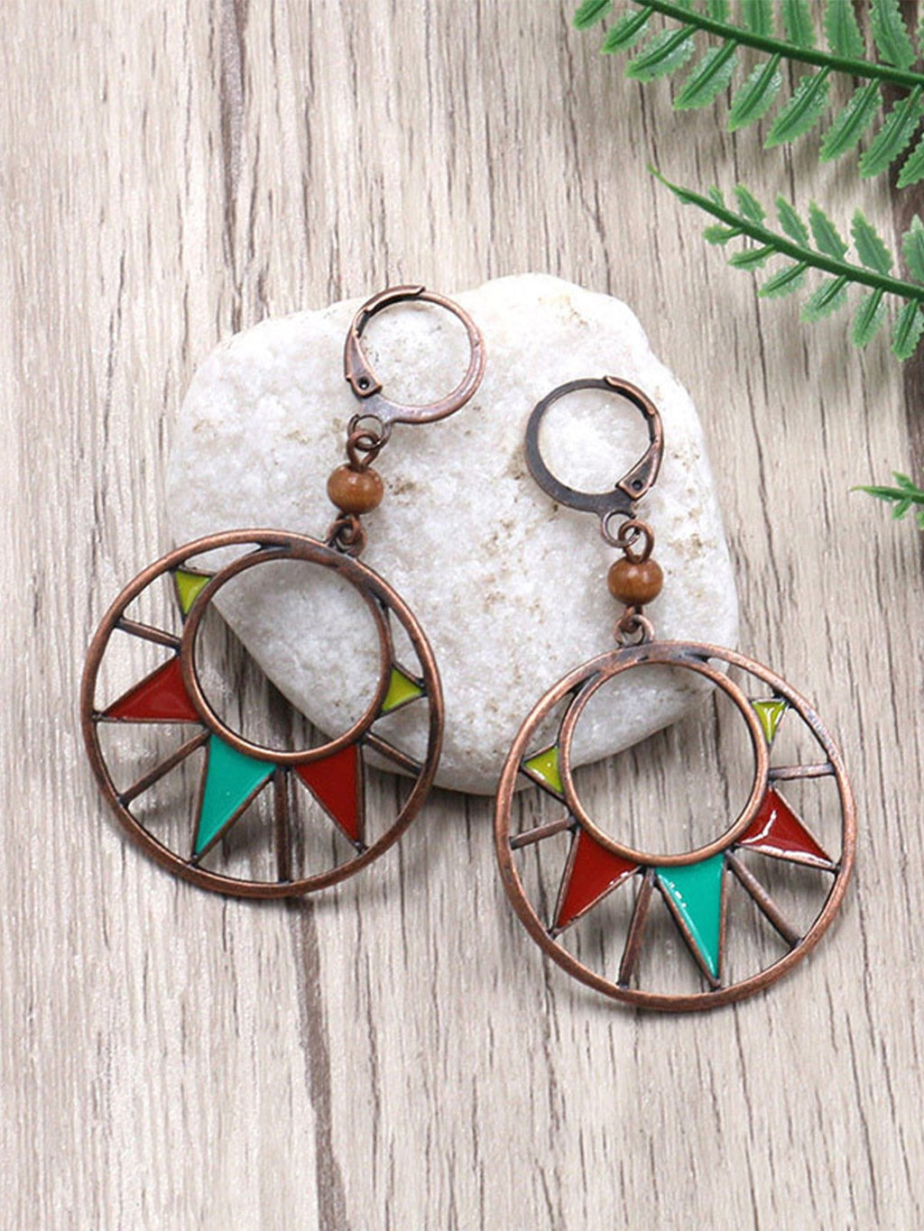 Bohemian Geometric Round Triangle Alloy Earrings