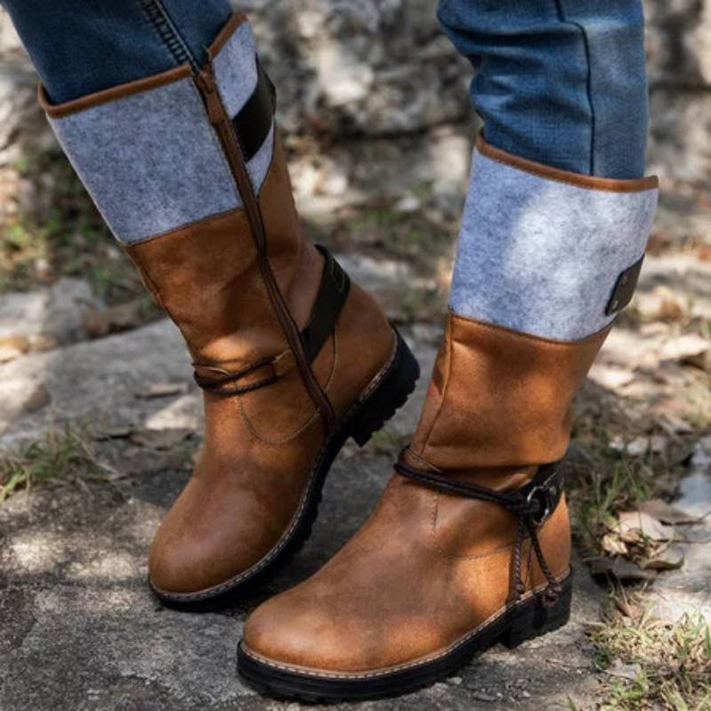 Cute and Comfy Comfortable Heels Mid-calf Warm Cowboy Boots Rikkishop