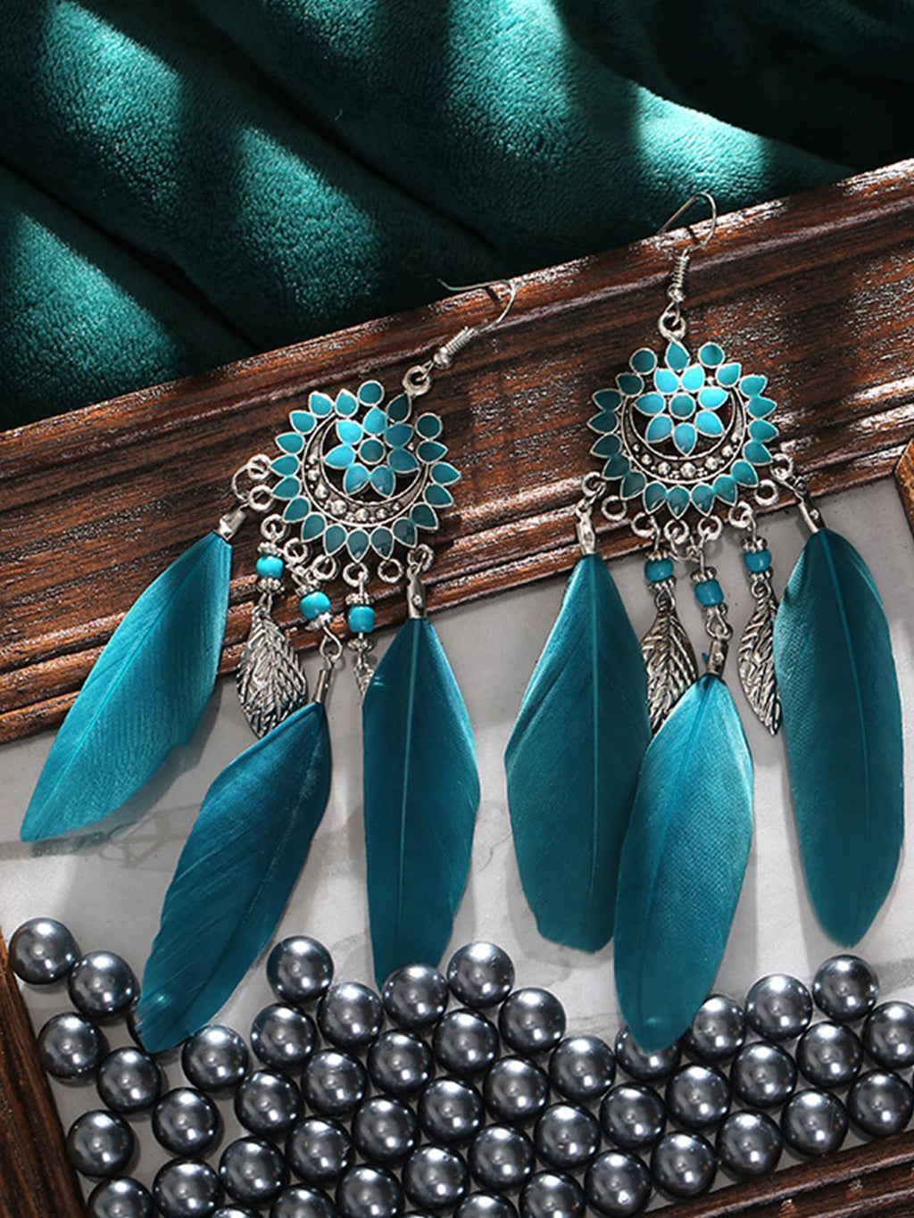 Bohemian Fringed Feather Earrings  Rikkishop