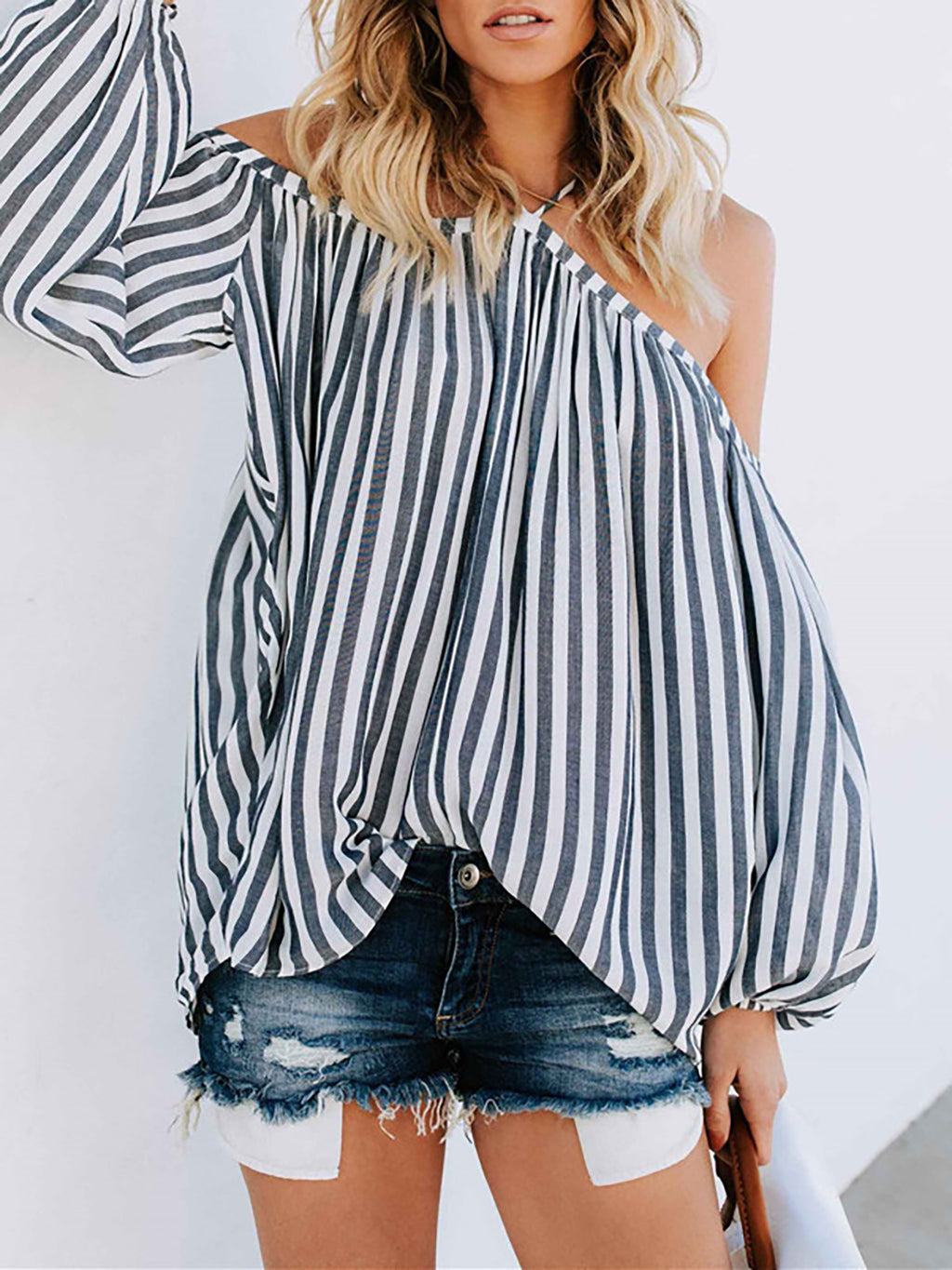 Gray Casual Cold Shoulder Blouses Shirt RIKKISHOP
