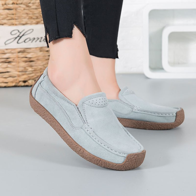 3de14cedc449 Women Nubuck Loafers Casual Comfort Slip On Plus Size Shoes