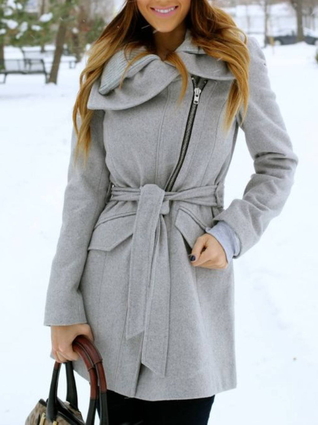 Gray Casual Cotton-Blend Long Sleeve Plain Outerwear