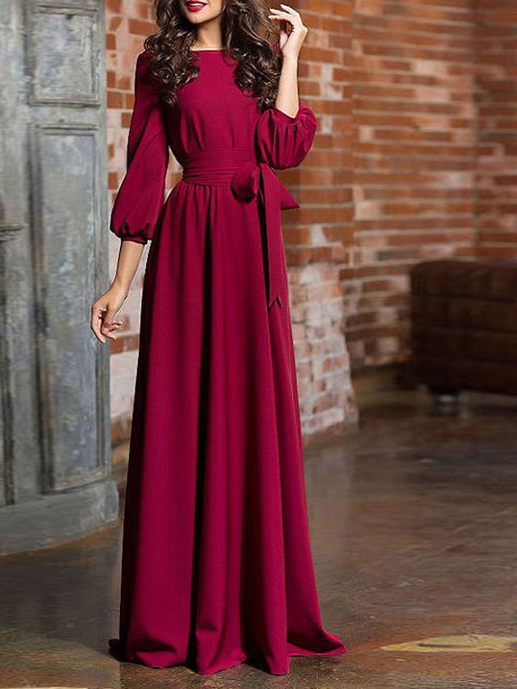 Lantern Sleeve Boat Neck Prom Elegant Evening Gowns Maxi Dress Rikkishop