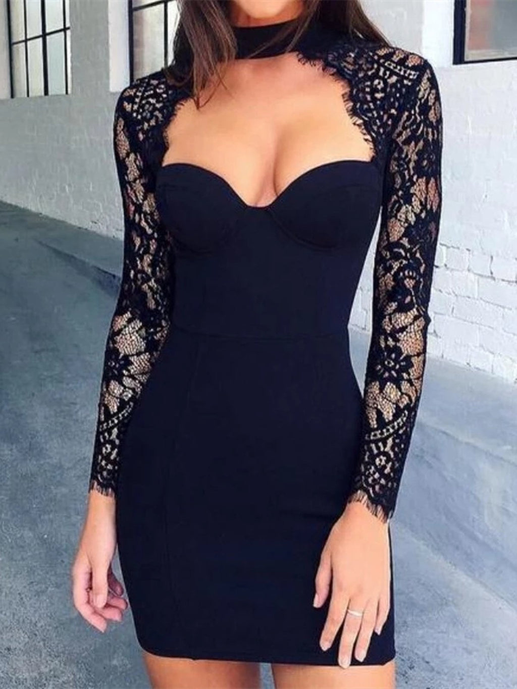 Sexy Push Up Bust Halter Lace sleeve Hollow Out Female Party Sheath Bodycon Mini Dress