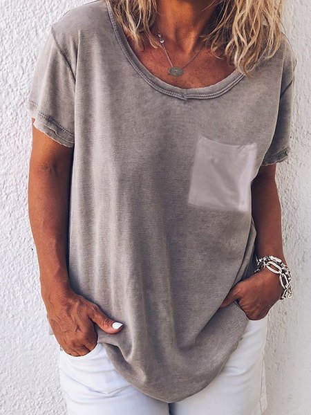 Casual Short Sleeve Crew Neck Pockets Blouse