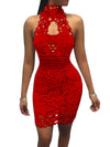 Solid Color Hollow Halter Lace Dress