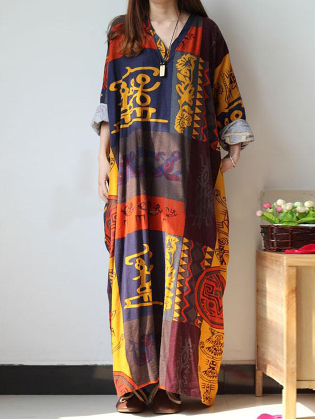 Multicolor Linen Long Sleeve Dress