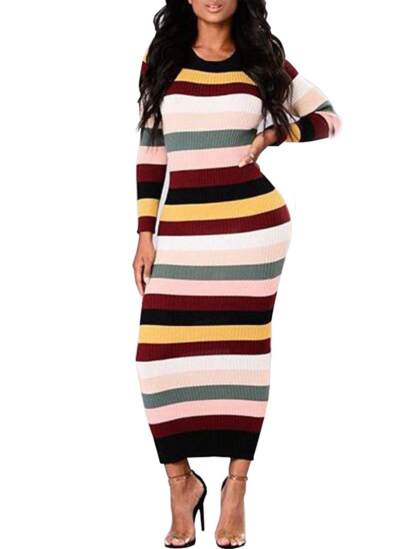 Stripe Round Neck Long Sleeve Maxi Dress