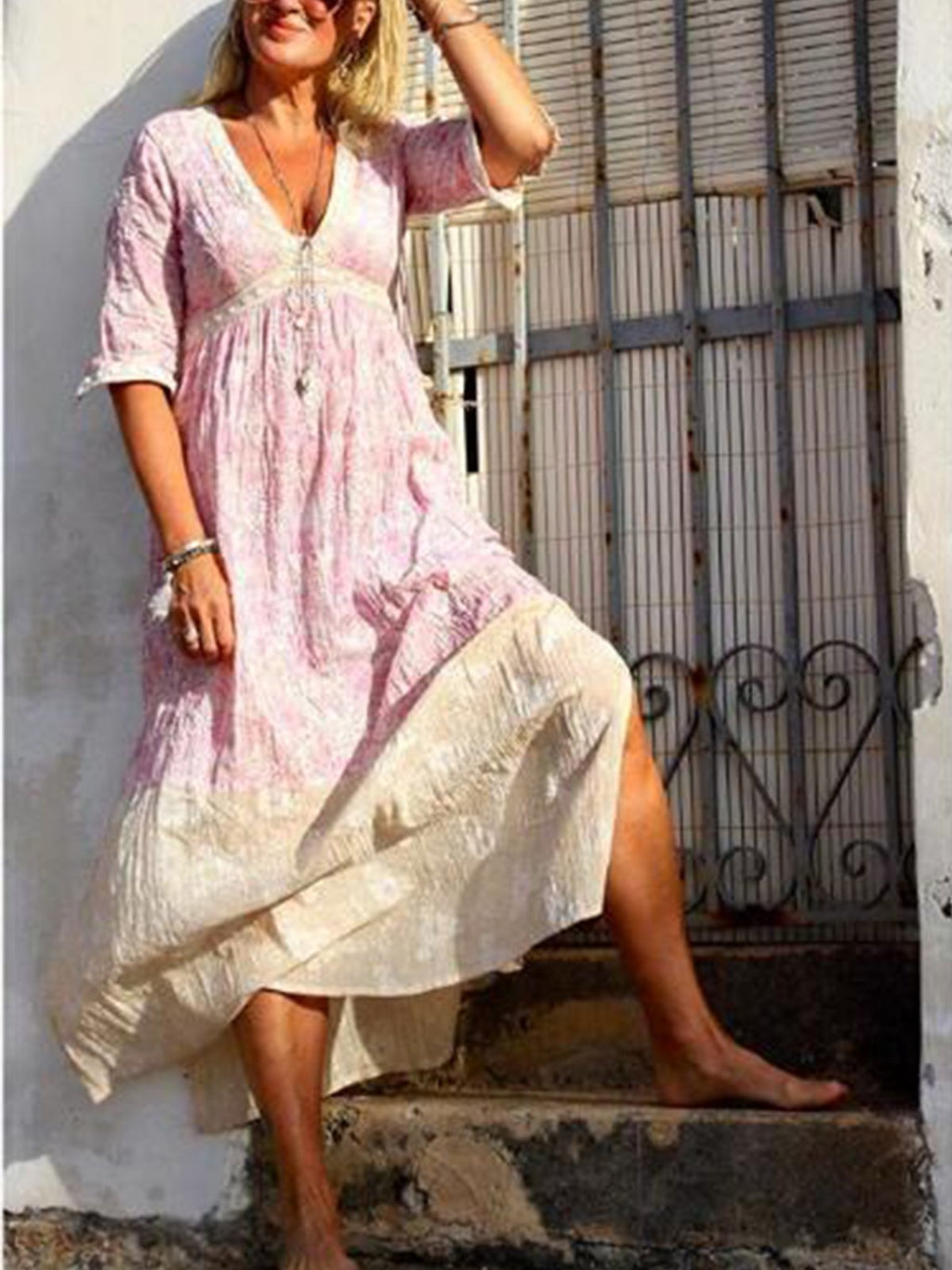 Pink Printed V Neck Boho Dresses