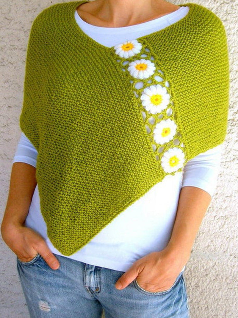 Women's  Casual Round Neck Floral Sweater