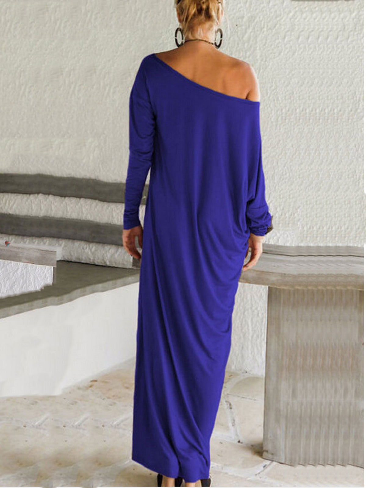 c2680aa383a4 Loose Hooded Maxi Dresses Women's Knit Off-Shoulder Wrap Dress Casual Long  Sleeves Plus Size