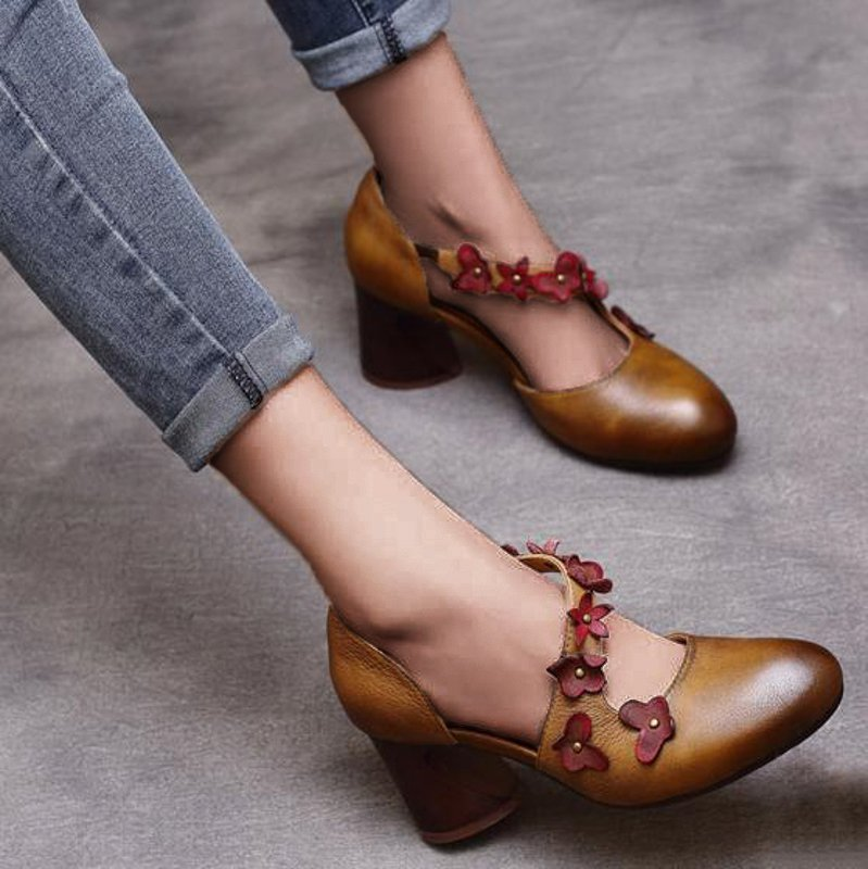 Flower Round Toe Chunky Heel Summer Pu Women Sandals