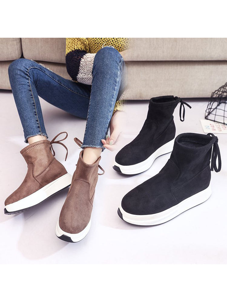 c2f83c8fdca9 Fashion Women Solid Color Lace-Up Pantshoes Comfort Boots
