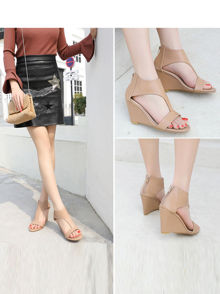 9d522a8bd Wedge Heel Fish Mouth Pure Color Sandals. Buy Now. Roman Style Open-toed Wedge  Sandals