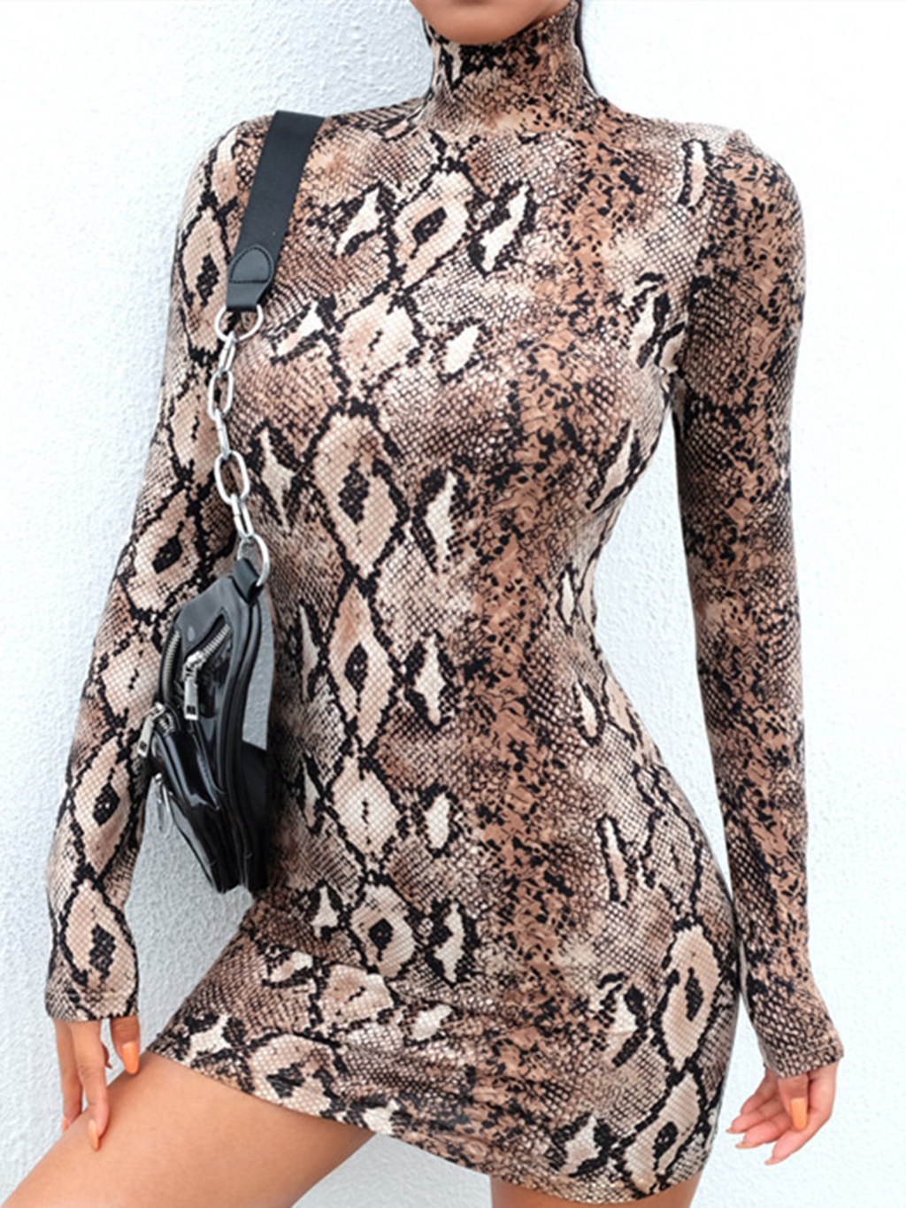 Leopard Sexy Long Sleeve Sheath Work Party Bodycon Dresses Rikkishop