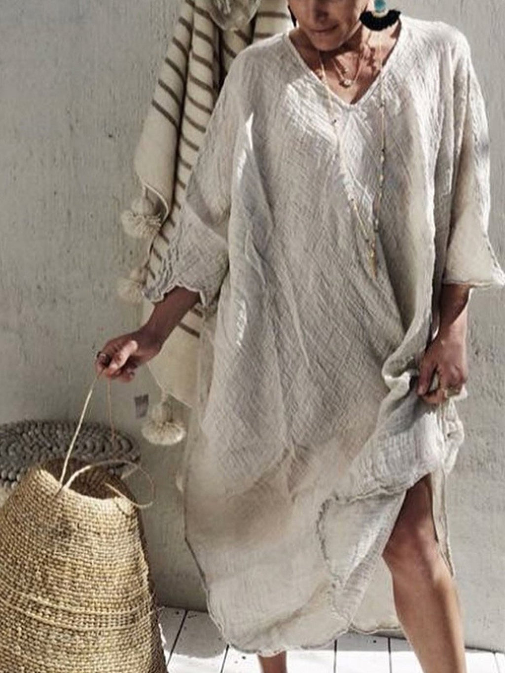 Women V-neck Half Sleeve Solid  Loose Large Size Casual Dresses