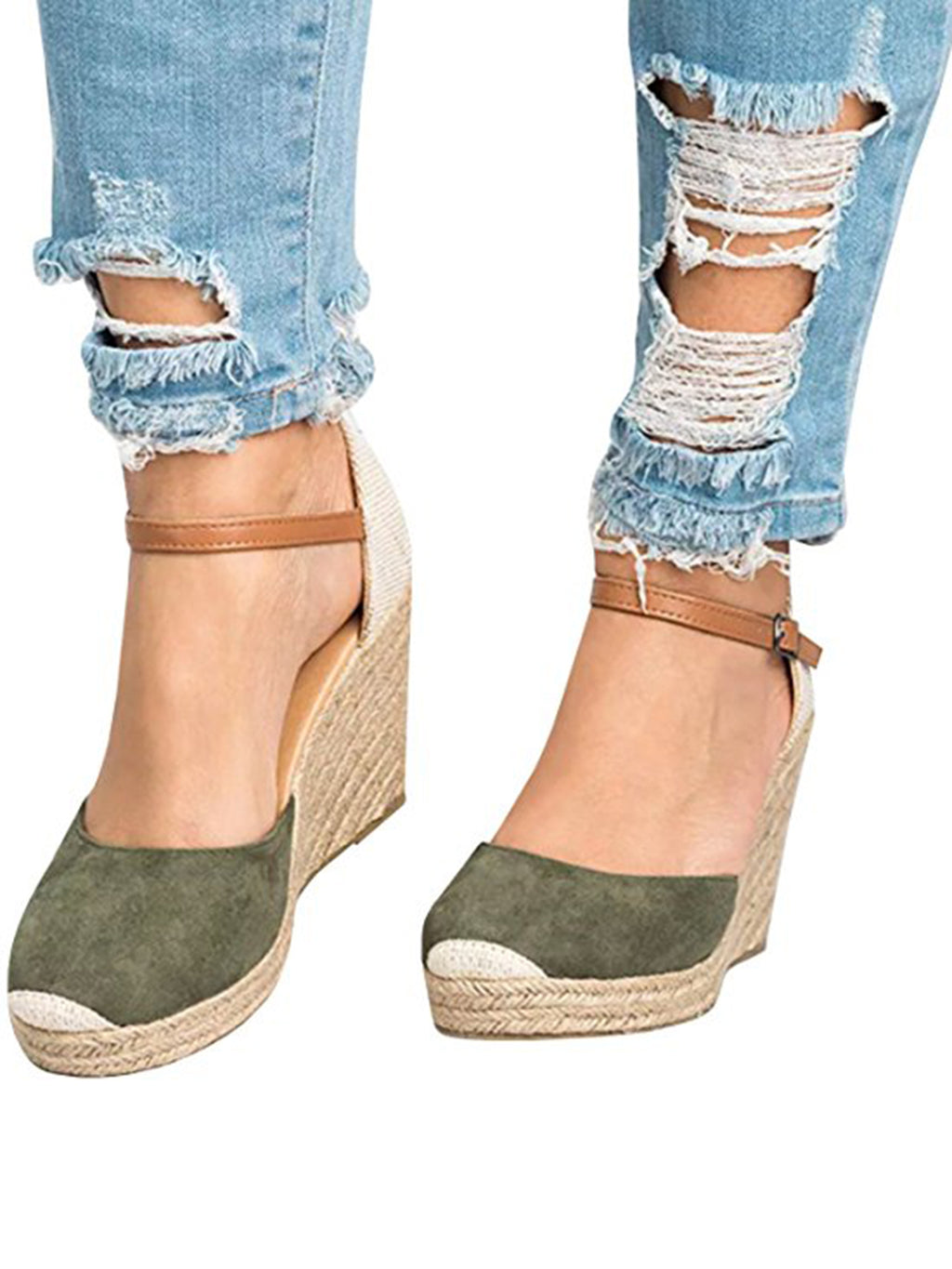 Wedges Shoes for Women Espadrilles Heels Ferbia Ankle Strap Fall Summer Sandals