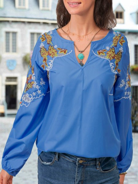 Blue Embroidered Floral Boho Shirts & Tops