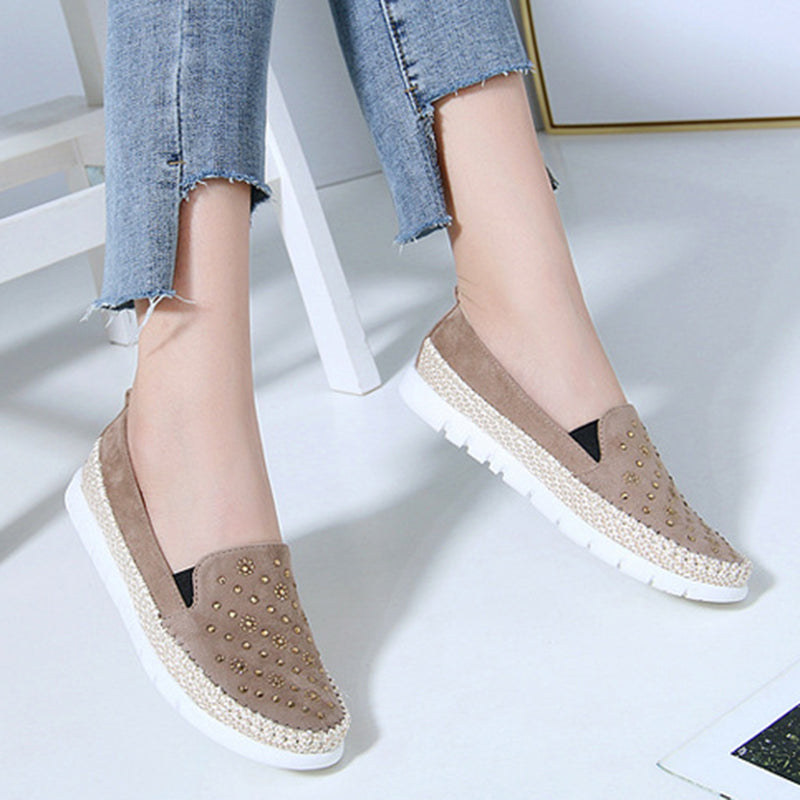 236119622a3a Women Rivet Loafers Casual Comfort Plus Size Shoes
