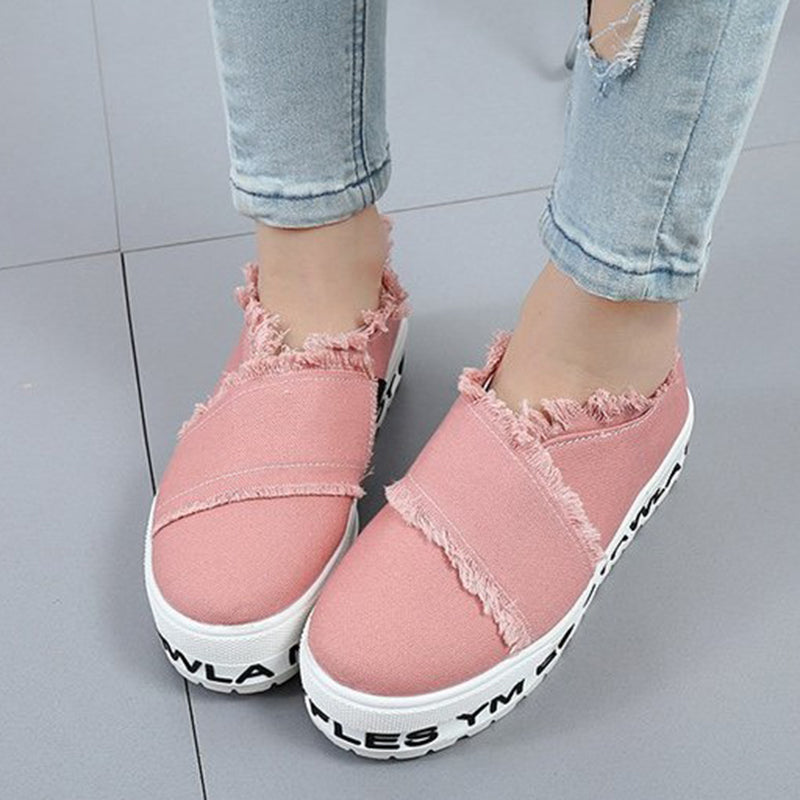 374a4e4c19f2 Women Cnavas Platform Loafers Creepers Casual Comfort Slip On Shoes