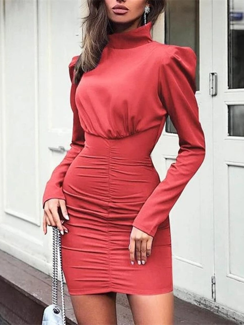 Plus Size Lantern Sleeve Lady Puff Long Sleeve Elegant Casual Turtleneck Party Bodycon Dress Rikkishop