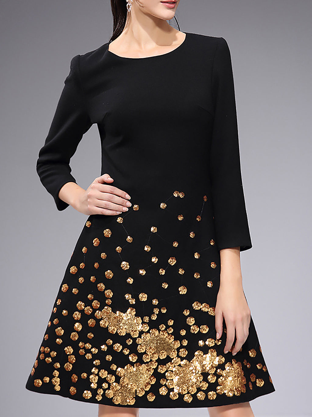 Black Shift Daily Beaded Midi Dress