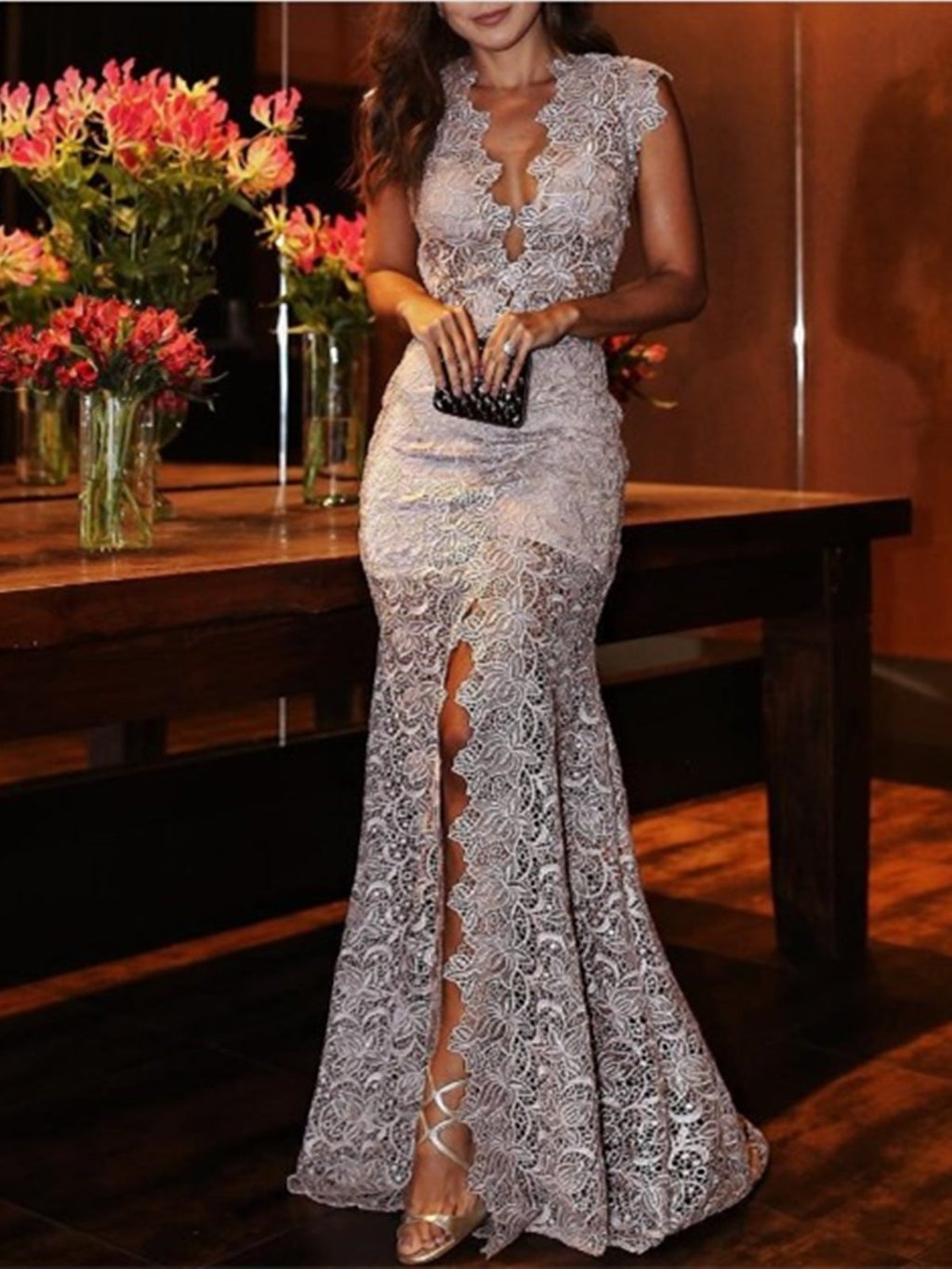 Gray Plus Size Wedding Evening Gowns Sexy V Neck Mermaid Lace Maxi Dresses Rikkishop