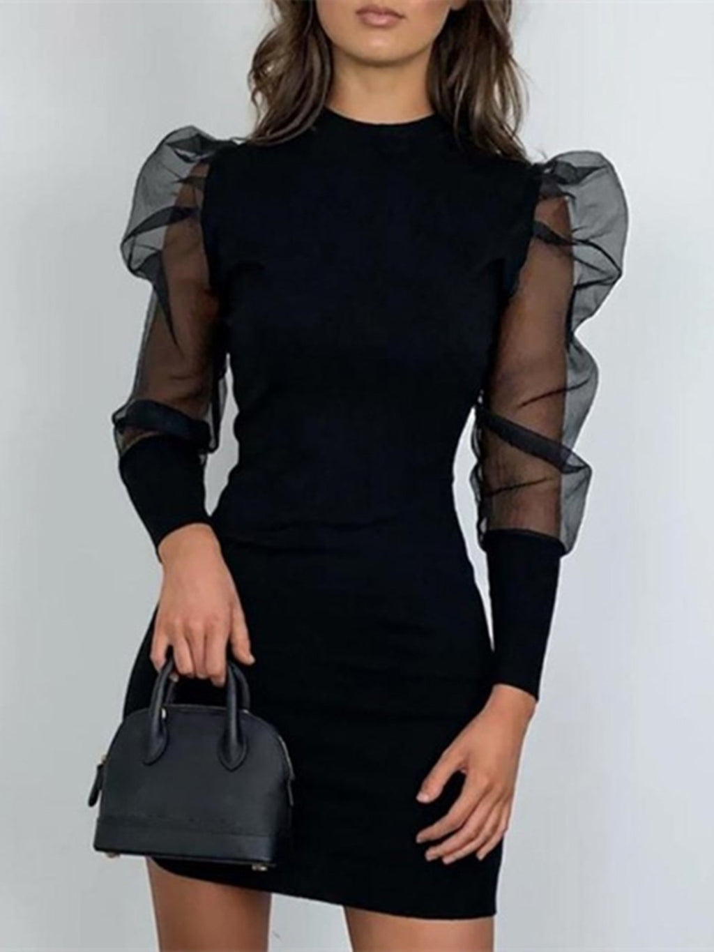 Lantern Sleeve Mock Neck Mesh Overlay Insert Cute Long Sleeve Homecoming Bodycon Dress Rikkishop