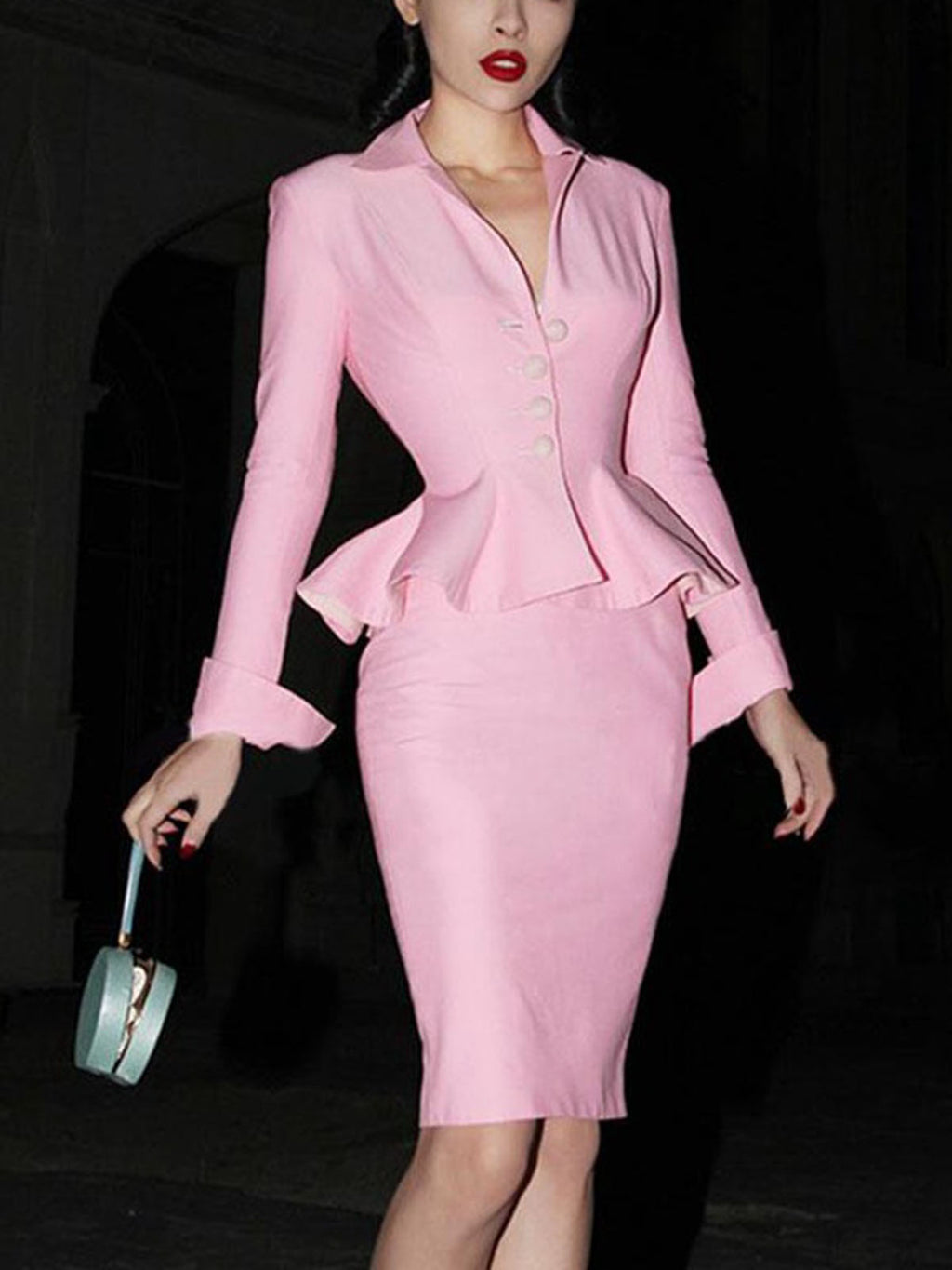 Pink Long Sleeve Small Suit And Skirt Set