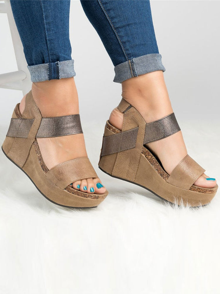 4913d27a4 Large Size Slip On Double Band Wedges Sandals