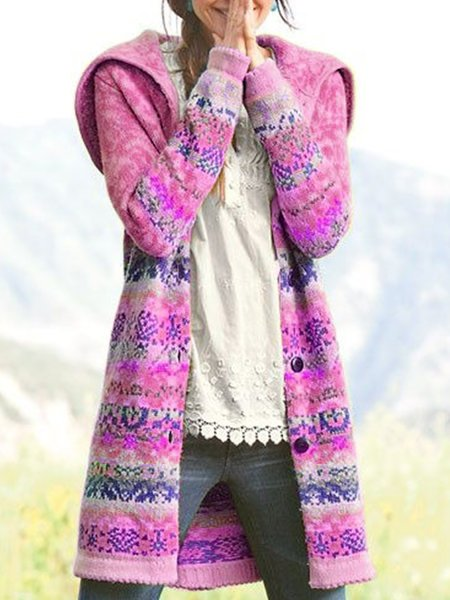Plus Size Boho Hoodie Long Sleeve Casual Outerwear